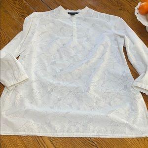 Norton McNaughton white tunic top, large